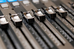 Recording studio equipment. Professional audio mixing console Royalty Free Stock Image