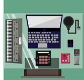 Recording Studio. In a flat design Stock Photo