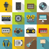 Recording studio items icons set, flat style Royalty Free Stock Photos