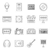 Recording studio items icons set, outline style Stock Image