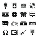 Recording studio items icons set, simple style Royalty Free Stock Image