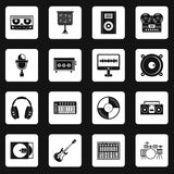 Recording studio items icons set squares vector Royalty Free Stock Photography