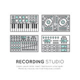 Recording Studio Labels Set Stock Image