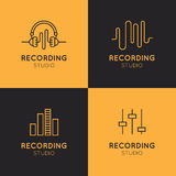 Recording Studio Labels Set Royalty Free Stock Image