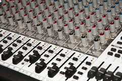 Recording Studio Mixing Console. Close up stock photography