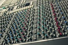 Recording studio mixing console stock image