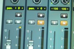 Recording studio mixing desk Stock Photos