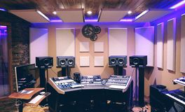 Recording Studio With Ultra Violet Florescent Stock Image