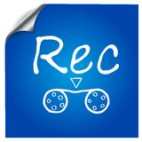 The recording symbol painted on a blue background Stock Photos