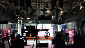 Recording TV shows. Television commercial production set - Recording TV shows stock video