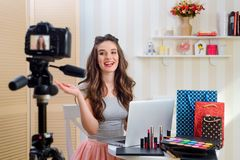 Recording video for beauty blog royalty free stock photos