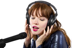 Recording Voice Overs or Singing Stock Photography