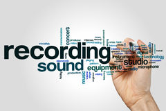 Recording word cloud. Concept on grey background Royalty Free Stock Photos