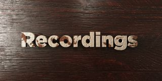 Recordings - grungy wooden headline on Maple  - 3D rendered royalty free stock image Stock Images