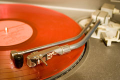 Recordplayer with red lp record Stock Photo