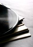 Records. Stack of records and their cases stock image