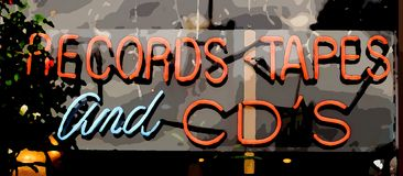 Records, CD's and Tapes. Digital Art Sign for Records, Cd's and Tapes stock image