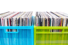Records in colour plastic boxes on white Stock Photo