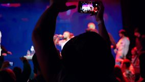 Concert smartphone music stock footage