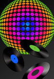 Records and Disco Ball. Illustration with records and colorful disco ball texture royalty free illustration