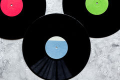 Records in music studio for dj or musician work on stone background top view Stock Photos