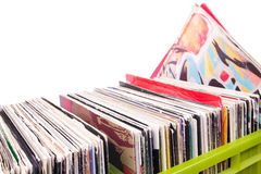 Records in plastic boxes on white Stock Image