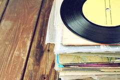 Records stack and old record. vintage filtered Royalty Free Stock Photo