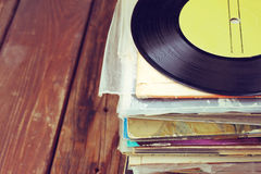 Records stack and old record. vintage filtered Royalty Free Stock Images