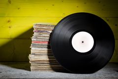 Records Stacked. One in Front Royalty Free Stock Photo
