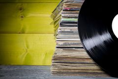 Records Stacked. One in Front Royalty Free Stock Photos