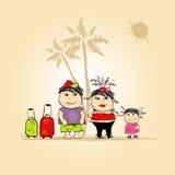 Recorrido de la familia, vacaciones de verano Imágenes de archivo libres de regalías