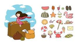 Recorrido feliz Muchacha, perro y maletas lindos de la historieta Bon Voyage stock de ilustración