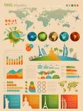 Recorrido Infographic fijado con las cartas Fotos de archivo