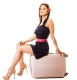 Recorrido y vacaciones Mujer con el bolso del equipaje de la maleta Imagen de archivo