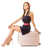 Recorrido y vacaciones Mujer con el bolso del equipaje de la maleta Foto de archivo