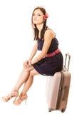 Recorrido y vacaciones Mujer con el bolso del equipaje de la maleta Fotos de archivo libres de regalías