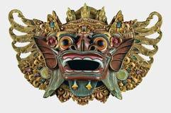 Recorte blanco de la máscara de madera de la ejecución del demonio del Balinese fotografía de archivo libre de regalías