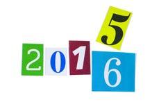 Recorte de papel números de 2015 y 2016 años Foto de archivo libre de regalías