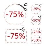 Recorte ejemplo de la venta y del descuento del 75, 50 y 25 por ciento con el icono y las tijeras del por ciento Ejemplo del vect ilustración del vector
