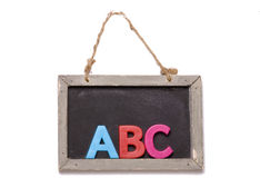 Recorte negro de la tarjeta del ABC Fotos de archivo