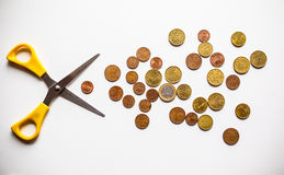 Recortes presupuestarios euro del dinero Imagen de archivo