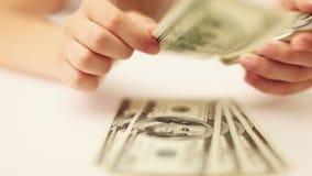 Recount Of Money. Money, Lots Of Hundred Dollar Bills stock video