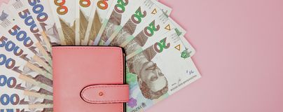 Recount money ukrainian hryvnia bills in wallet. Finance crisis in Ukraine, the fall of the hryvnia to the dollar exchange rate.  stock image