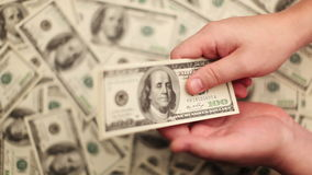 Recount And Transfer Of Money. Money, Lots Of Hundred Dollar Bills stock video footage