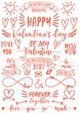 Recouvrements de jour du ` s de Valentine, ensemble de vecteur Photos stock