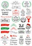 Recouvrements des textes de Noël, ensemble de vecteur Images stock