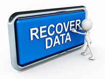 Recover data. Man pushing data recovery button to get back precious data that was lost to a crash Stock Image