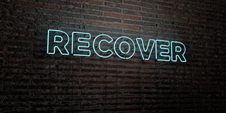 RECOVER -Realistic Neon Sign on Brick Wall background - 3D rendered royalty free stock image. Can be used for online banner ads and direct mailers vector illustration