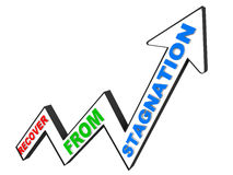 Recover from stagnation. Concept, graph rising on white background Stock Photo