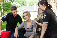 Recovering Emergency Patient. Emergency medical team with recovering patient Royalty Free Stock Photo